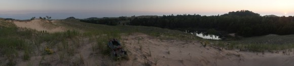 nordhouse dunes wilderness panorama shot of sunset over lake michigan and interdunal pond