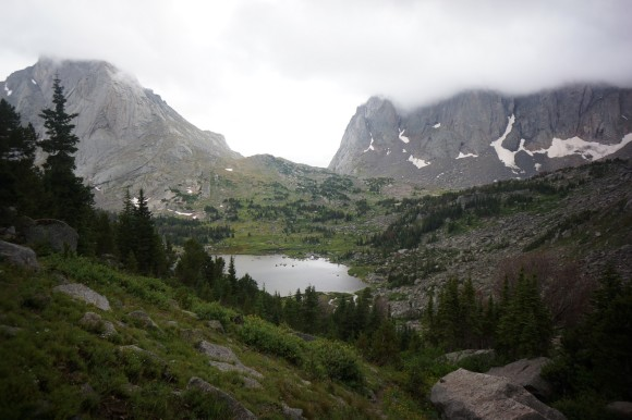 view of lonesome lake in the cirque of the towers area