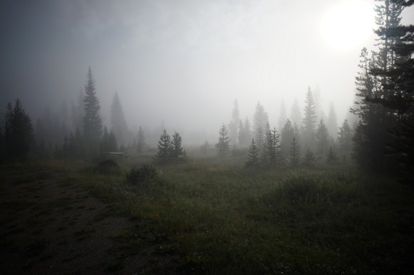 green river lakes campground wyoming dense morning fog