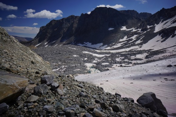 indian pass descent onto knifepoint glacier wind river range