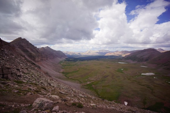 procpine pass in the high uintas wilderness - view form the summit