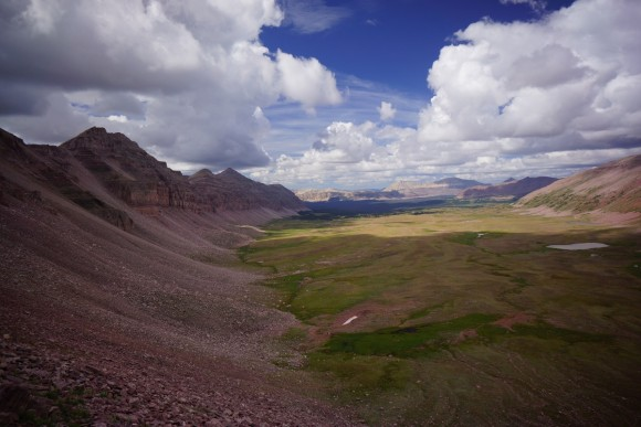 a view of upper oweep basin while ascending porcupine pass