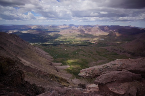 view from the summit of king's peak in the uintas wilderness