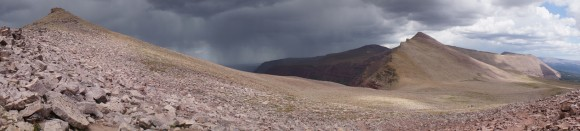 anderson pass in the high uintas wilderness overlloking a rainstorm