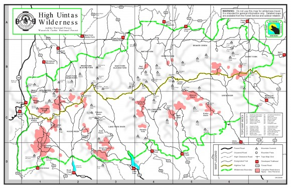map of trailhead locations in the high uintas wilderness