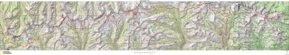 map of the highline trail in the uintas mountains, utah