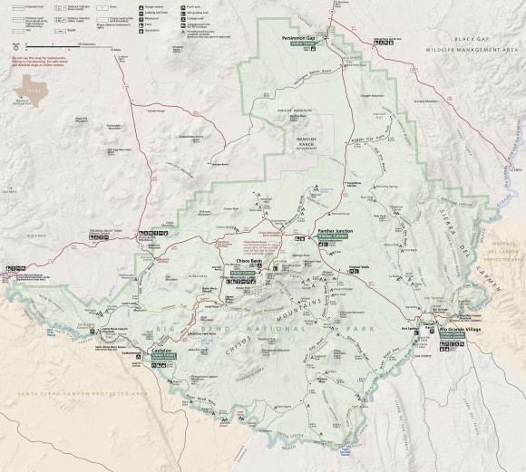 official map of big bend national park in texas