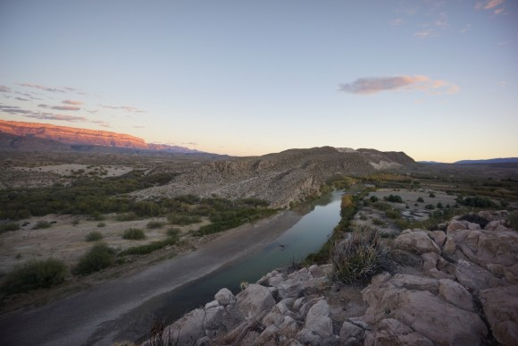 View of the Rio Grande River from and overlook in Rio Grande Village