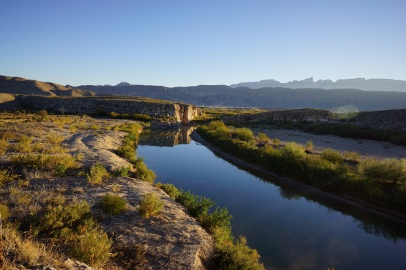 the rio grande river in big bend national park with the village of boquillas mexico in the backgorund