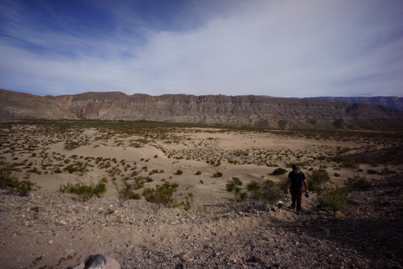 hiking back to boquillas across open desert terrain
