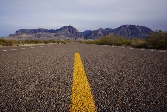 road to the chisos mountains in big bend national park