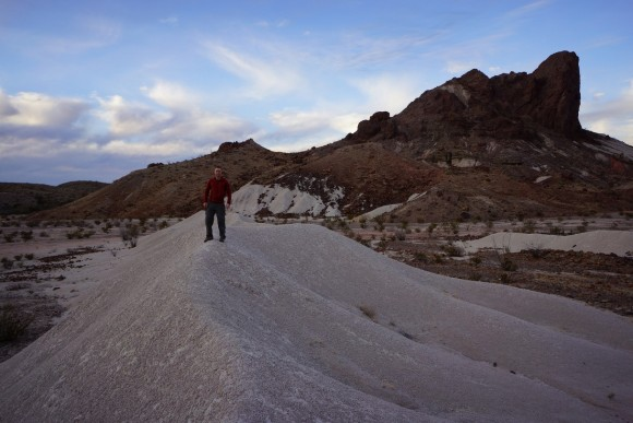 walking along a ridge of volcanic ash in big bend national park