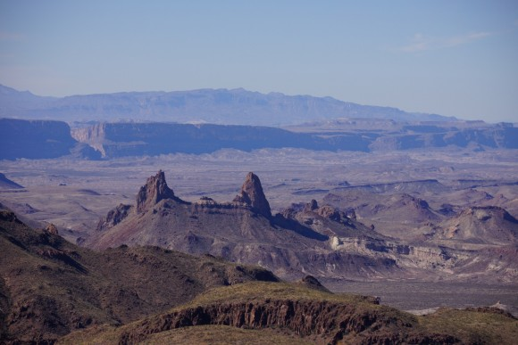 view of mule ears peaks with santa elena canyon in the disatnce