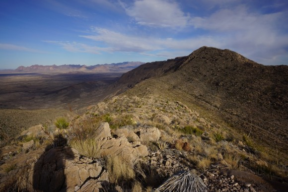 view of cross canyon trail from amriscal canyon rim trail in big bend