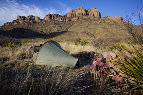 view of crown mountain beind a campsite in juniper canyon of big bend national park, texas