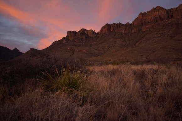 red sky behind crown mountain in big bend national park