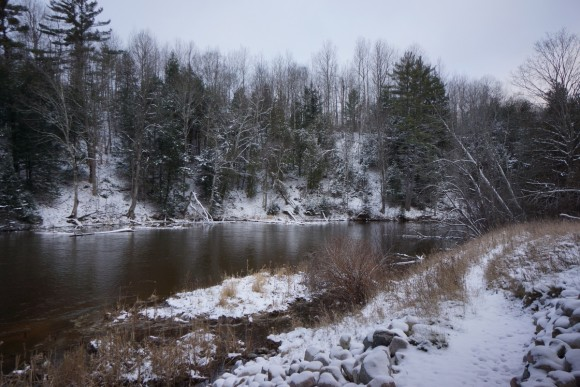 manistee river michigan near hwy 131 fife lake in winter