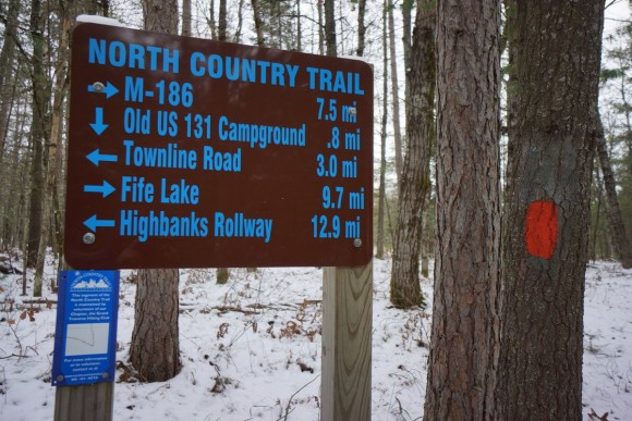 sign along the north country trail