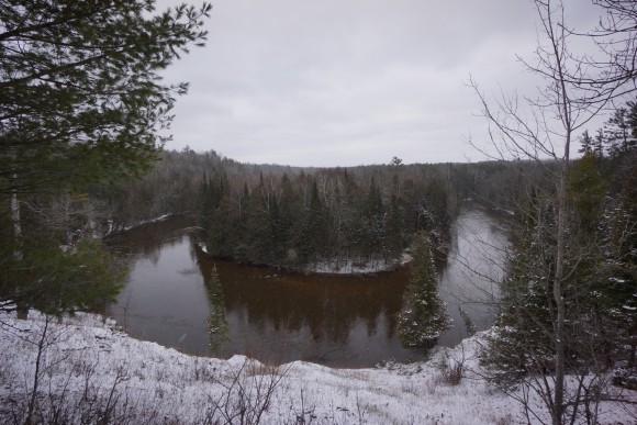 manistee river bend photo in winter