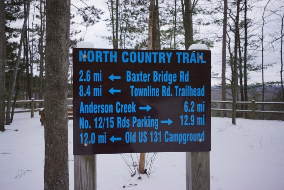 a sign along the north country trail near highbanks rollway
