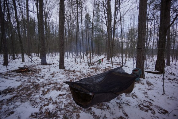 warbonnet ridgerunner hammock setup with no tarp in winter